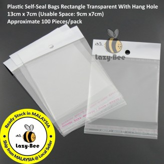 B23165: 100 Pieces 13x7cm (Usable Space: 9x7cm) Plastic Self-Seal Bags Rectangle Transparent With Hang Hole [ C6 ]