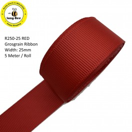 R250-25: RED: Grosgrain Ribbon 25mm, 5Meter
