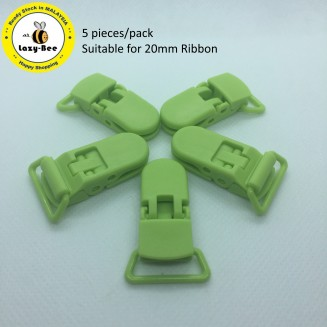 KM292: APPLE GREEN: Baby Pacifier Clip, 5 pieces