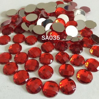 SA035: RED Acrylic Rhinestone 12mm, 100 pieces [ B02 ]