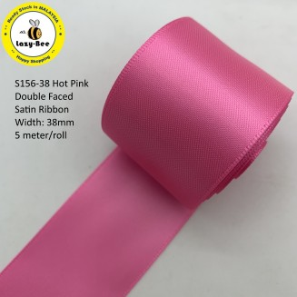S156-38: HOT PINK: Double Faced Satin Ribbon 38mm, 5Meter