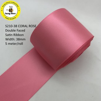 S210-38: CORAL ROSE: Double Faced Satin Ribbon 38mm, 5Meter