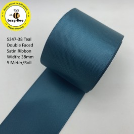 S347-38: TEAL: Double Faced Satin Ribbon 38mm, 5Meter