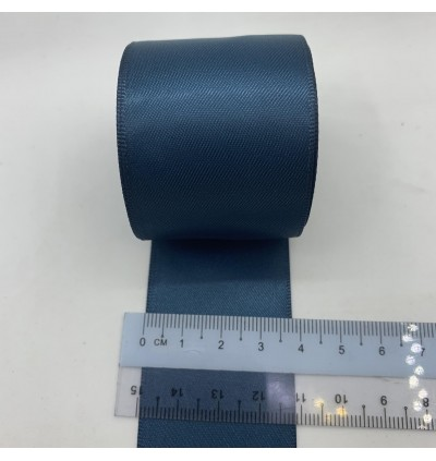 S369-38: MILITARY BLUE: Double Faced Satin Ribbon 38mm, 5Meter