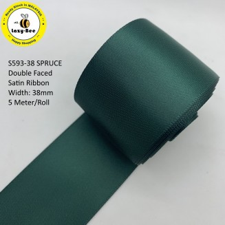 S593 SPRUCE: 5 meter Double Faced Satin Ribbon Wedding DIY Craft Bow knot Perkahwinan Borong Balut Reben