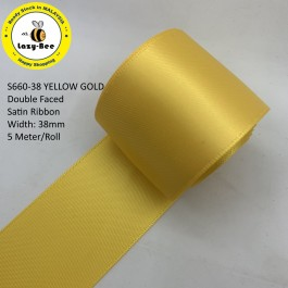 S660-38: YELLOW GOLD: Double Faced Satin Ribbon 38mm, 5Meter