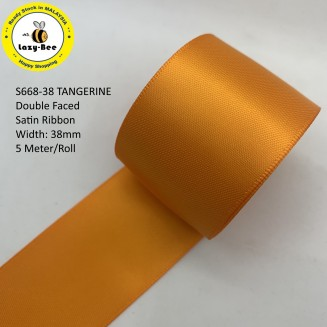 S668-38: TANGERINE: Double Faced Satin Ribbon 38mm, 5Meter
