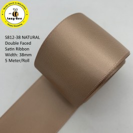 S812-38: NATURAL: Double Faced Satin Ribbon 38mm, 5Meter