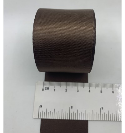 S850-38: BROWN: Double Faced Satin Ribbon 38mm, 5Meter
