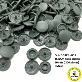 KM268: OLIVE GREY B9: T5 KAM Matte Plastic Snap Button Fastener DIY Clothing Button , 50 sets