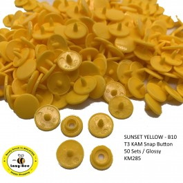 KM285: SUNSET YELLOW B10: T3 KAM Glossy Plastic Snap Button Plastic Fastener DIY, 50 Sets
