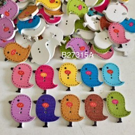 B27315: Wood Buttons Bird Shape 26x23mm, 50 Pieces