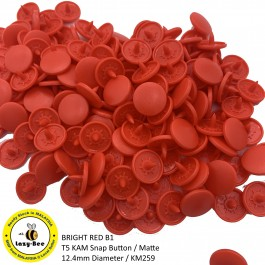 KM259: BRIGHT RED B1: T5 (12.4mm Diameter) KAM Matte Snap Button Plastic Fastener DIY, 50 Sets