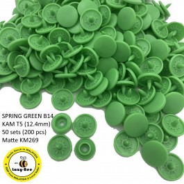 KM269: SPRING GREEN B14: T5 (12.4mm Diameter) KAM Matte Snap Button Plastic Fastener DIY, 50 Sets [ L5 ]