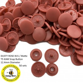 KM270: DUSTY ROSE B15: T5 (12.4mm Diameter) KAM Matte Snap Button Plastic Fastener DIY, 50 Sets [ L7 ]
