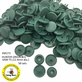 KM273: HUNTER GREEN B31: T5 (12.4mm Diameter) KAM Matte Snap Button Plastic Fastener DIY, 50 Sets [ L6 ]