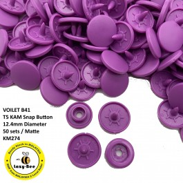 KM274: VOILET B41: T5 (12.4mm Diameter) KAM Matte Snap Button Plastic Fastener DIY, 50 Sets [ L6 ]