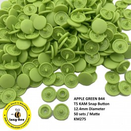 KM275: APPLE GREEN B44: T5 (12.4mm Diameter) KAM Matte Snap Button Plastic Fastener DIY, 50 Sets [ L5 ]