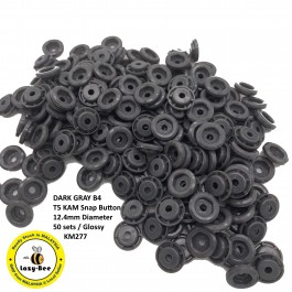 KM277: DARK GRAY B4: Glossy T5 (12.4mm Diameter) KAM Snap Button Plastic Fastener DIY, 50 Sets [ K2 ]