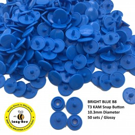 KM284: BRIGHT BLUE B8: T3 (10.3mm Diameter) KAM Glossy Snap Button Plastic Fastener DIY, 50 Sets [ L6 ]