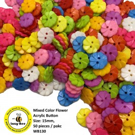 WB130: Mixed Color Flower Acrylic Button 15mm, 50 pieces [ A12 ]
