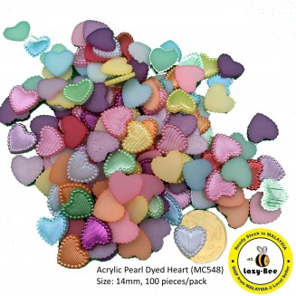 MC548: Acrylic Pearl Dyed Heart 13.5mm, 100 pieces [ B8 ]