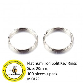 MC829: Platinum Iron Split Key Rings 20mm, 100 pieces [ A17 ]
