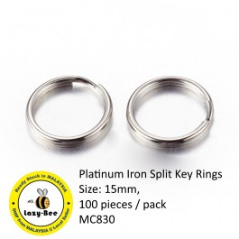 MC830: Platinum Iron Split Key Rings 15mm, 100 pieces [ A12 ]