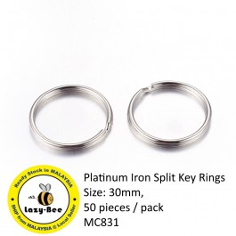 MC831: Platinum Iron Split Key Rings 30mm, 50 pieces [ C17 ]