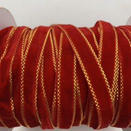 RB340: Red Velvet with Gold Trim 10mm, 5 meter