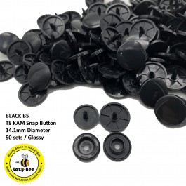 KM319: BLACK B5: T8 (14.1mm Diameter) KAM Glossy Snap Button Plastic Fastener DIY, 50 Sets [ L7 ]