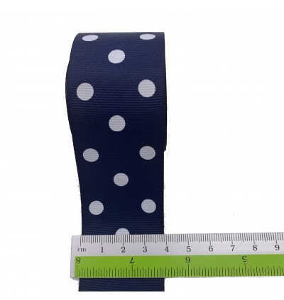 RB348: NAVY: Polka Dot Grosgrain Ribbon 40mm, 5meter