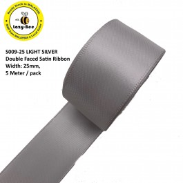 S009-25: LIGHT SILVER: Double Faced Satin Ribbon 25mm, 5Meter