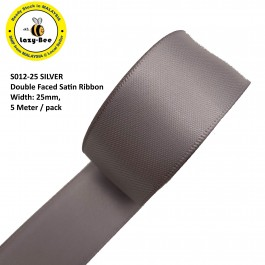 S012-25: SILVER: Double Faced Satin Ribbon 25mm, 5Meter