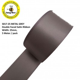 S017-25: METAL GREY: Double Faced Satin Ribbon 25mm, 5Meter