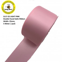 S117 LIGHT PINK: 5 meter Double Faced Satin Ribbon Wedding DIY Craft Bow knot Perkahwinan Borong Balut Reben