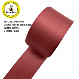 S141-25: CINNABAR: Double Faced Satin Ribbon 25mm, 5Meter