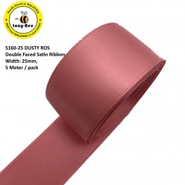 S160-25: DUSTY ROSE: Double Faced Satin Ribbon 25mm, 5Meter