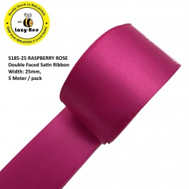 S185-25: RASPBERRY ROSE: Double Faced Satin Ribbon 25mm, 5Meter