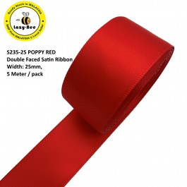 S235-25: POPPY RED: Double Faced Satin Ribbon 25mm, 5Meter