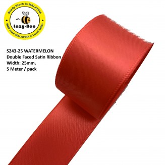 S243-25: WATERMELON: Double Faced Satin Ribbon 25mm, 5Meter
