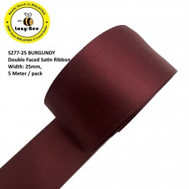S277-25: BURGUNDY: Double Faced Satin Ribbon 25mm, 5Meter
