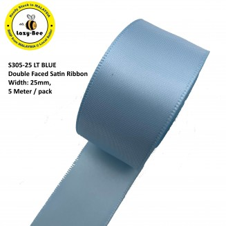S305-25: LT BLUE: Double Faced Satin Ribbon 25mm, 5Meter