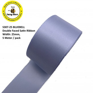 S307-25: BLUEBELL: Double Faced Satin Ribbon 25mm, 5Meter