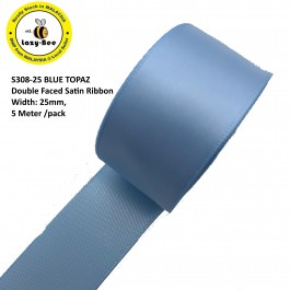 S308-25: BLUE TOPAZ: Double Faced Satin Ribbon 25mm, 5Meter