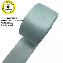 S313-25: CRYSTALLINE: Double Faced Satin Ribbon 25mm, 5Meter