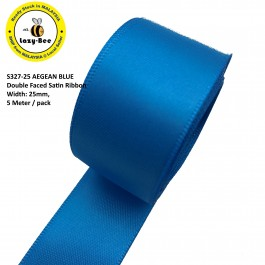 S327-25: AEGEAN BLUE: Double Faced Satin Ribbon 25mm, 5Meter