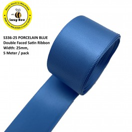 S336-25: PORCELAIN BLUE: Double Faced Satin Ribbon 25mm, 5Meter