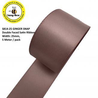 S814-25: GINGER SNAP: Double Faced Satin Ribbon 25mm, 5Meter