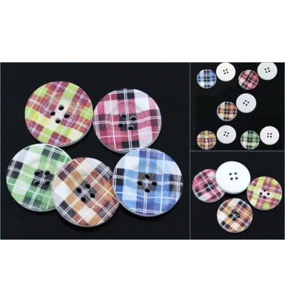 B24204: Mixed 5 Patterns Wood  Buttons 4 Holes  3cm Dia,30 Pieces [ C18 ]